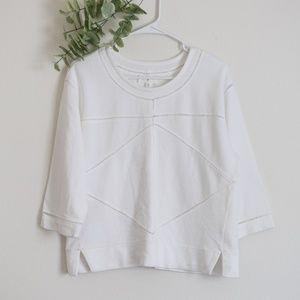 Lou & Grey White Geometric Pullover